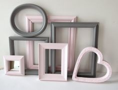 Picture Frames And Mirror Vintage Painted Gray Grey And Pink Cottage Chic Baby Nursery Child Girl Modern Home Decor