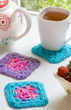 Single Square Coasters Free Crochet Pattern from Red Heart Yarns