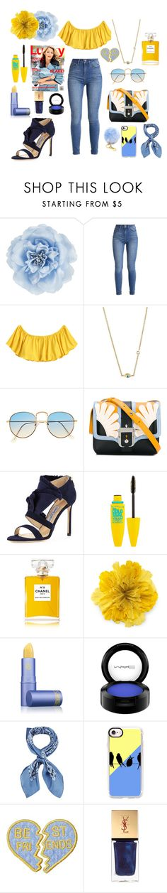 """blue and yellow"" by lulisrodriguez ❤ liked on Polyvore featuring Monsoon, Sydney Evan, Paula Cademartori, Jimmy Choo, Maybelline, Chanel, Gucci, Lipstick Queen, MAC Cosmetics and Manipuri"