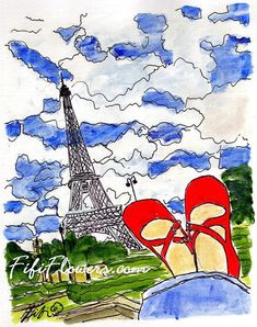 Red Shoes Eiffel by fififlowers on Etsy, $5.00