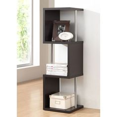 Get organized in a flash when you depend on this dark brown display shelf. The cube-style design brings a contemporary look that quickly improves your home or office. Chrome-plated steel support beams are both functional and stylish.