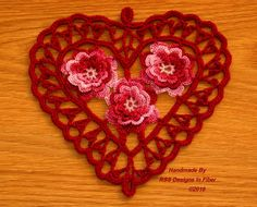 Burgundy Heart with 3D Red Roses Irish by @rssdesignsfiber