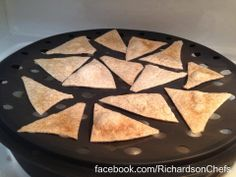 Homemade Tortilla Chips. No oil. No Salt. Sugar Free, whole Wheat tortillas. Healthy snack with fresh salsa or mango salsa (my favorite!) Uses Pampered Chef Microwave Chip Maker or bake in oven