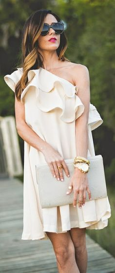 white ruffle dress, (my exception to ruffles)
