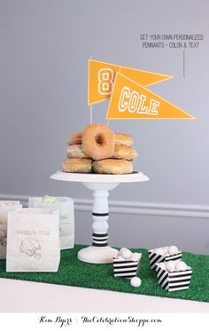 Personalized Pennants (Color and Text) and easy DIY Cake Plate | Kim Byers, TheCelebrationShoppe.com