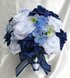 Wedding Bouquet Bridal Silk flowers NAVY BLUE WHITE PERIWINKLE 17pc bouquets perfect for the color I want!