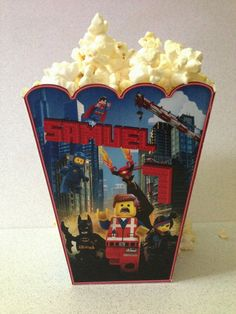 The LEGO Movie Personalized Popcorn or Treat Box, LEGO Favor Box, DIY, Digital File. on Etsy, $5.00
