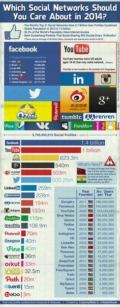 Which Social Media Networks Should You Care About In 2014? #infographic #socialmedia