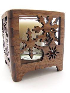 Black Walnut Wood Holiday Snowflake Votive Candle Holder - Sustainable Harvest Wisconsin Wood