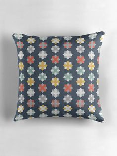 Blue geometric cushion, Navy cushion, Sofa cushions, Modern blue pillow, Blue home decor, navy geometric cushion, Multi coloured cushion by ShadowbrightLamps on Etsy https://www.etsy.com/uk/listing/600663467/blue-geometric-cushion-navy-cushion-sofa
