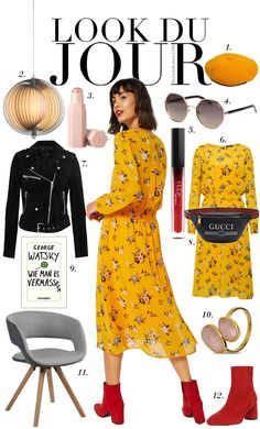Mustard floral midi dress+red ankle boots+black biker suede jacket+sunglasses+gold and pink bracelet+black graphic belly-bag+mustard beret. Fall Casual Date Outfit 2018 Midi Dress Outfit, Yellow Midi Dress, Floral Midi Dress, Dress Red, Winter Mode Outfits, Winter Dress Outfits, Winter Fashion Outfits, Casual Dress Outfits, Preppy Outfits