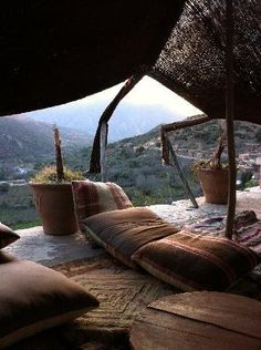 Berber Tent and view of valley, Ouirgane, Marrakech