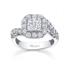 Princess cut Micro Pave Halo Diamond Engagement Ring With Bypass Design - 7790LW Ancora