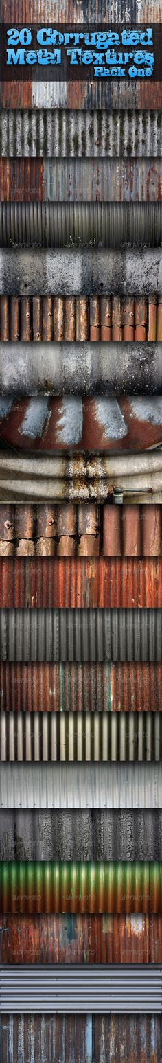 20 Corrugated Metal Textures - Pack One #GraphicRiver 20 Corrugated Metal Textures – Pack One 20 Textures – High Resolution Size Up to 4272×2848 pixels. JPEG Format saved at 100% quality as always. Perfect for game development. Can also be used as