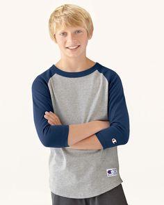 Champion Youth Raglan Baseball T-Shirt - T13Y #champion #baseballtee #youthtshirt