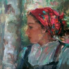 Girl In A Red Scarf, painting by artist Mary Maxam