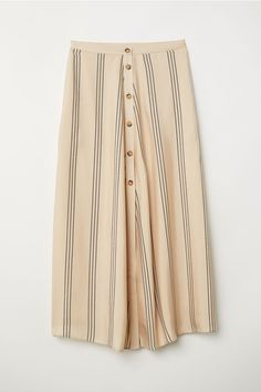 H&M Calf-length Skirt - Beige/striped - Women Beige Skirt, Stripe Skirt, H&m Fashion, Fashion Online, Calf Length Skirts, Dress For Success, Fall Winter Outfits, Rock, Flare Skirt