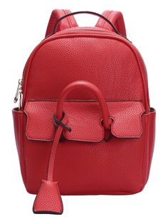 Red Zipper PU Backpack 32.27