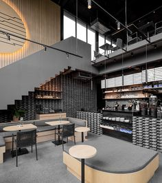 A Material Palette Of Warm Woods And Grey Elements Has Been Used To Create This Contemporary Coffee Shop Interior - hOteLs - Coffee Coffee Shop Interior Design, Interior Design Minimalist, Coffee Shop Design, Restaurant Interior Design, Cafe Design, Modern Restaurant, Coffee Cafe Interior, Design Design, Cozy Coffee Shop