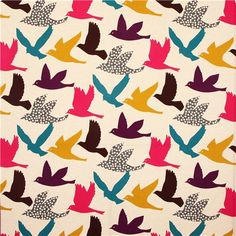 wide natural bird echino poplin fabric big bird