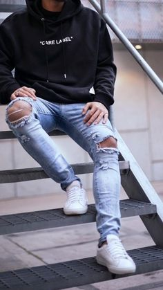 Outfits For Teenage Guys, Cool Outfits For Men, Swag Outfits Men, Stylish Mens Outfits, Back To School Outfits Highschool, Casual School Outfits, High School Fashion, Dress With Sneakers, Urban Fashion