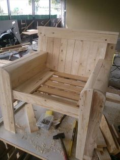 """Wooden Pallet Chair - Seat cushion dimensions are 21""""L x 11.5""""W x 2.5""""H; back dimensions are 21""""L x 28""""W x 2.5""""H"""