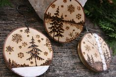 A charming set of 3 woodburned Winter Wonderland ornaments made from slices of yellow birch. Each slice measures 2-3 inches across with and additional 2+ inch wire hook for easy hanging. A wonderful gift as a set or individually to family members, co-workers or as hostess gifts this holiday season! Each one is a small work of art!  These ornaments can also double as deluxe gift tags as part of a larger gift for someone special