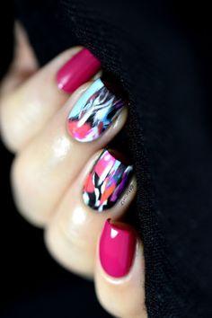 Pink abstract nails - OPI Koala Bear-y - water decals