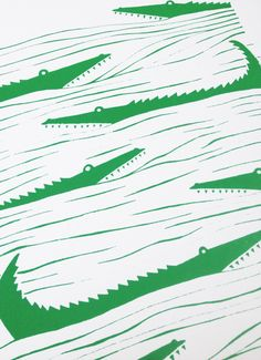 Graphic emerald green patterned art print of crocodiles lurking in the waters. Inspired by the simple shapes of animals found in African wood carvings. Crocodile Illustration, Pattern Illustration, Textile Prints, Textile Patterns, Conversational Prints, Pretty Patterns, Kids Prints, Stuffed Animal Patterns, Grafik Design