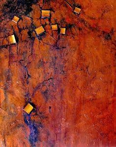 "Mixed Media Artists International: Geologic Petroleum Abstract Painting, ""Buried Treasure"" @ Carol Nelson Fine Art"