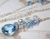 Blue Topaz Necklace, Sterling Silver, Wedding, Handmade Jewelry, March Birthday, Spring Fashion