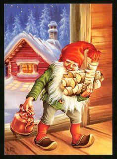 8 Pcs Postcard Vintage Christmas New Year Gnome Lars Carlsson Unused Illustration Noel, Christmas Illustration, Illustrations, Norwegian Christmas, Scandinavian Christmas, Vintage Christmas Cards, Christmas Pictures, Troll, Yule