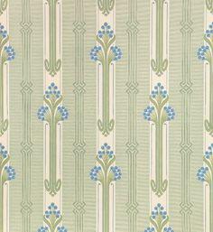 Fakta Rullmått: 10,05 m x 0,53 m Tvättbar papperstapet   Jugendtapeternas design utgjordes vanligen av strama geometriska mönster eller mjuka svängda växtmotiv. Nergården är ett exempel på den första typen med en lätt påverkan av den andra.