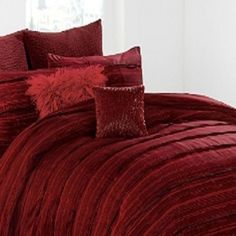 Amazon.com - DKNY~Washed Stripe~Red~ Queen Full Duvet Cover cotton -