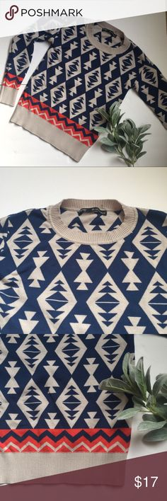 Lightweight geometric navy tan orange sweater Hey Beautiful! This lightweight cosy sweater is navy, tan and deep orange geometric Aztec pattern on trend for fall/winter fashion! Laying flat measures underarm to underarm 15.5 inches and shoulder to bottom hem 22inches. 📦 Same/Next day shipping. EACH SALE HELPS ME TO PAY MEDICAL BILLS, thank you for considering this sweater! Sweaters Crew & Scoop Necks