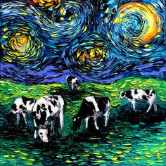 Hey, I found this really awesome Etsy listing at https://www.etsy.com/listing/279079326/starry-night-cows-canvas-art-cow-art