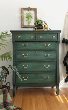 painted furniture Empire Dresser Painted with a Layered Technique with Annie Sloan Chalk Paints by Salvaged Inspirations Green Painted Furniture, Painting Ikea Furniture, Refurbished Furniture, Colorful Furniture, Repurposed Furniture, Bedroom Furniture, Annie Sloan Chalk Paint Furniture, Diy Bedroom, Vintage Furniture