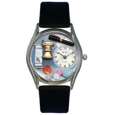 Pharmacist Black Leather And Silvertone Watch - http://www.artistic-watches.com/2013/01/22/pharmacist-black-leather-and-silvertone-watch/