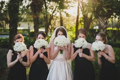 Black Bridesmaid Dresses, Formal Bridesmaid Dresses, Real Florida Wedding: Courtney Shaw and James Gabelbauer | Weddings Illustrated