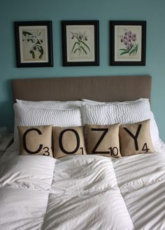 'COZY' pillows. Love these!!! So creative and unique. $80.00