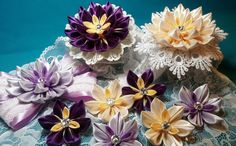 Ribbon flowers:kanzashi from narrow ribbons/Цветы из лент: канзаши из уз...