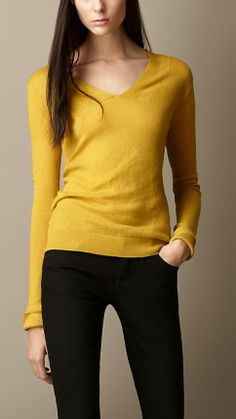 Burberry Brit Cashmere Cotton Check Detail Sweater