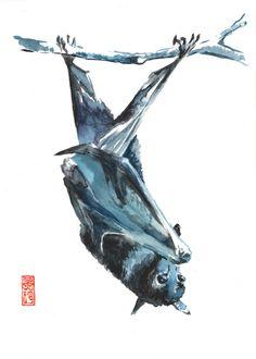 Bat Watercolor Fine Art Giclee Print / Animal painting / Wildlife painting by JadeWuStudio on Etsy https://www.etsy.com/ca/listing/268471507/bat-watercolor-fine-art-giclee-print