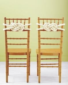 Rope Knot Chair Backs....i would use the knot to tie the bride & groom's chairs together