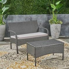 Winston Porter Deeanna Outdoor 2 Piece Rattan Sofa Seating Group with Cushions Frame Color / Cushion Color: Gray Frame / Silver Cushion Outdoor Sofa Sets, Outdoor Seating Areas, Outdoor Chairs, Outdoor Furniture Sets, Recycled Furniture, Wicker Chairs, Rattan Sofa, Chair Cushions, Living Room Furniture