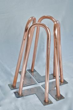 Set of 4 real copper hairpin legs 31cm