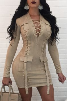 Bonnie Forest Suede Autumn Dress 2017 Sexy Lace Up Mini Party Dresses Women Solid V Neck Bodycon Short Bandage Dress Clubwear Sexy Outfits, Sexy Dresses, Cute Dresses, Casual Dresses, Fashion Dresses, Cute Outfits, Fashion 2018, Fashion Clothes, Casual Clothes
