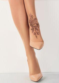 Stop & Stare Printed Shaded Rose Tattoo Sheer Tights - 2