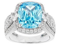 Meet your new favorite Pre-Owned Blue & White Cubic Zirconia Rhodium Over Sterling Silver Ring JTV offers exceptional quality and value with this piece. Diamond Simulant, Broken Chain, Types Of Rings, Blue Rings, Gemstone Colors, Sterling Silver Rings, Jewelry Rings, Blue And White, Engagement Rings