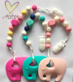Silicone Teething pacifier clip clips silicone by VinchasUsa